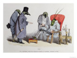 "The Leech Doctors, Caricature from ""Les Metamorphoses Du Jour,"" 1854 Premium Giclee Print by  Grandville"