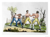 "Boxing in England, Illustration from ""Costume Antico E Moderno"" Giclee Print by Vittorio Raineri"