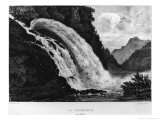 View of the Calcaccia Waterfall, 1831 Giclee Print by Louis Jules Frederic Villeneuve