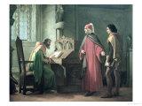 Dante Presenting Giotto to Guido Da Polenta Giclee Print by Giovanni Mochi