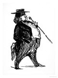 "Honore De Balzac with a Cane, Probably Drawn for the Book ""Physiologie Du Rentier,"" circa 1841 Giclee Print by Honore Daumier"