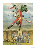 Baron Munchausen Flying over the Enemy Lines on a Cannon Ball Giclee Print