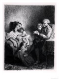 Alphonse De Lamartine Reading to His Family Reproduction procédé giclée par Tony Johannot