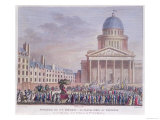 Apotheosis and Funeral Procession of Jean-Jacques Rousseau to the Pantheon, Paris Giclée-tryk af Girardet