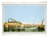 "Bridge over the Lagoon, from ""Views of Principal Monuments in Venice,"" Published circa 1850 Giclee Print by Giovanni Pividor"