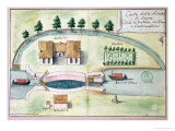 Drawing of the Lock at Negra on the Canal Du Midi Giclee Print by Francois Andreossy