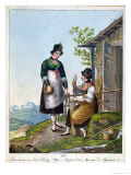Dairymaids in the Alps Near Tegernsee, Early 19th Century, Giclee Print