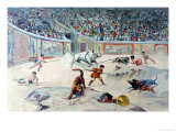 Gladiators Fighting Animals in the Circus at Pompeii Giclee Print by Antonio Niccolini