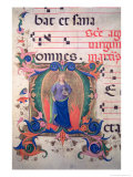 Historiated Initial &quot;M&quot; Depicting St. Agnes, from a Musical Score Giclee Print by Zanobi Di Benedetto Strozzi