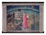 Dante and His Poem the &#39;Divine Comedy&#39;, 1465 (Tempera on Panel) Giclee Print by  Domenico di Michelino