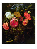 Still Life with a Swag of Fruits and Flowers Tied with a Blue Ribbon Giclee Print by Maria Van Oosterwyck