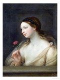Girl with a Rose Giclée-tryk af Guido Reni