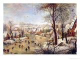 Winter Landscape with Bird Trap ジクレープリント : ピーテル・ブリューゲル(子)