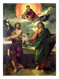 The Apparition of the Virgin to the Saints John the Baptist and St. John the Evangelist Giclée-tryk af Dosso Dossi