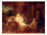 Abraham Receives the Three Angels Premium Giclee Print by  Rembrandt van Rijn
