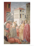 St. Peter Distributing the Common Goods of the Church and the Death of Ananias, circa 1427 Giclee Print by Tommaso Masaccio