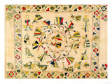 Rumal: Square Embroidery Cover Showing Punjabi Dance, Mid 19th Century Giclee Print