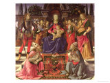 Madonna and Child with Ss. Justus, Zenobius and the Archangels Michael and Raphael Giclée-tryk af Domenico Ghirlandaio