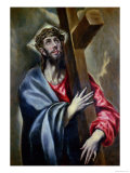 Christ Clasping the Cross Giclée-tryk af El Greco