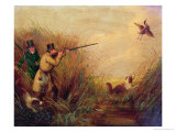 Duck Shooting Amongst Reeds Premium Giclee Print by Samuel John Egbert Jones