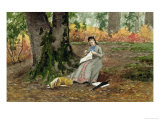 Woman Embroidering under a Tree Giclee Print by John M. Tracy