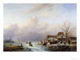 Dutch Winter Landscape Giclee Print by Andreas Schelfhout