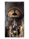 Madonna and Child Enthroned Between Ss. Francis, John the Baptist, Job, Dominic, Sebastian, Louis Giclee Print by Giovanni Bellini