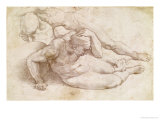Study of Three Male Figures Giclee Print by Michelangelo Buonarroti