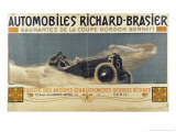 Poster Showing Automobiles Richard-Brasier Winning the Gordon Bennett Cup, 1904 Giclee Print by Henri Jules Ferdinand Bellery-defonaines