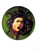 Medusa, Painted on a Leather Jousting Shield, circa 1596-98 Reproduction procédé giclée par Caravaggio