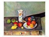テーブルの上のミルク差しと果物 1886-1890年 ジクレープリント : ポール・セザンヌ