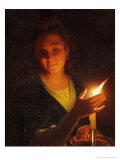 Woman with a Candle Giclee Print by Godfried Schalken Or Schalcken