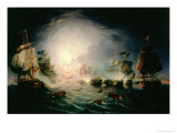 "The Blowing up of the French Commander's Ship ""L'Orient"" at the Battle of the Nile, 1798 Giclee Print by John Thomas Serres"