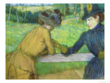 Two Women Leaning on a Gate Giclee Print by Edgar Degas