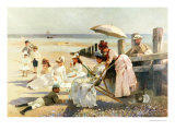 On the Shores of Bognor Regis, Portrait Group of the Harford Couple and Their Children, 1887 Giclee Print by Alexander Rossi