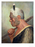 A Maori Warrior Reproduction proc&#233;d&#233; gicl&#233;e par Charles Frederick Goldie