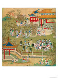 Emperor Yang Ti Strolling in His Gardens with His Wives, from a History of Chinese Emperors Giclee Print