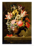 Still Life of Flowers in a Vase with a Lizard on a Ledge Giclee Print by Jacob Marrel