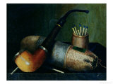Still Life of Pipe Tobacco and Matches Giclee Print by William Michael Harnett