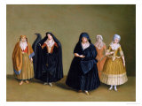 Ladies of the Knights of Malta with Their Maid Servant Giclee Print by Antoine de Favray