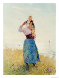 Woman and Child in a Meadow Giclee Print by Hector Caffieri