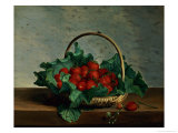 Basket of Strawberries Giclee Print by Johan Laurentz Jensen
