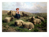Shepherdess with Sheep in a Landscape Giclee Print by C. And Gerard Leemputten
