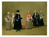 Grand Master and Chaplains of the Knights of the Order of Malta Giclee Print by Antoine de Favray