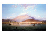 Hobart Town with Mount Wellington, Tasmania Premium Giclee Print by Geelmuyden Bull Knud