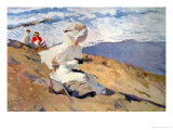 The Beach at Biarritz Premium Giclee Print by Joaquín Sorolla y Bastida