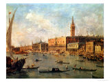 Venice: the Doge's Palace and the Molo from the Basin of San Marco, circa 1770 Giclée-tryk af Francesco Guardi
