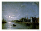 Moonlight on the Thames Giclee Print by Henry Pether