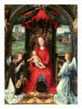Madonna and Child Enthroned with Two Angels, 1480 Giclee Print by Hans Memling