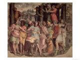 Tarquinius the Proud Founding the Temple of Jupiter on Capitol Hill Giclée-Druck von Perino Del Vaga